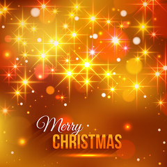 Merry Christmas typographical background with shining blurred bokeh lights and glowing golden stars