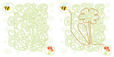 bee maze game for kids with flowers solution
