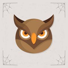Owl Head icon. Vector Halloween flat illustration isolated on gray stylized background
