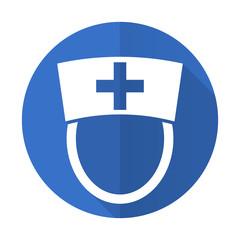 nurse blue flat desgn icon with shadow on white background