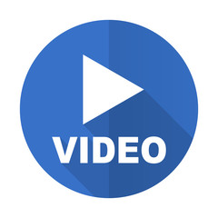 video blue flat desgn icon with shadow on white background
