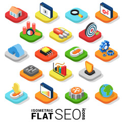 Flat 3d isometric vector SEO search engine optimization icon
