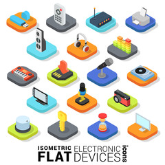 Flat 3d isometric vector electronic devices mobile app icon