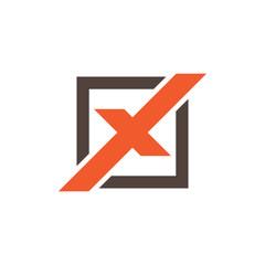 Square X Logo Template