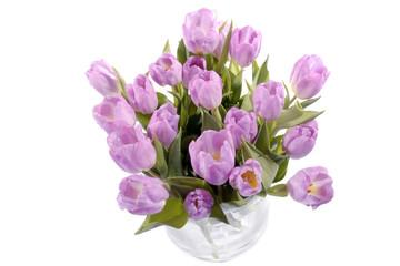 Aluminium Prints Tulip grote bos paars roze tulpen in een glazen vaas