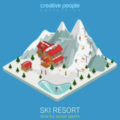 Ski resort winter mountain sport flat isometric vector snowboard
