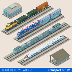 Flat 3d isometric vector train depot railroad railway transport