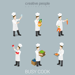 Cook work chief cooking uniform tools flat 3d isometric vector