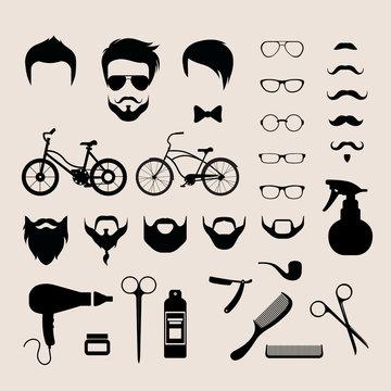 Barbershop hair cut mobile app flat vector hipster haircut beard