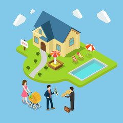 New family house sold real estate flat 3d isometric vector