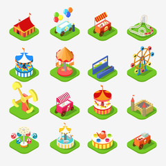 Carousel attraction entertainment park icon 3d isometric vector