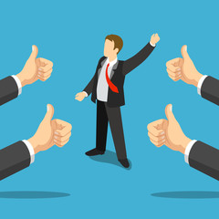 Successful businessman best thumbs up hands flat 3d isometric
