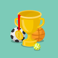 Trophy cup gold medal sport win winner flat 3d isometric vector
