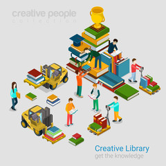 Creative library education knowledge books flat 3d isometric