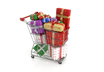 Isolated shopping cart with lots of gifts.3d image