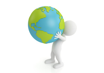 3d man holding Earth with his hands. 3d image