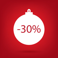 christmas sale sticker tag, 30 percent discount
