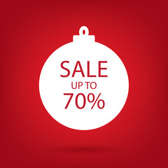 christmas sale sticker tag, up to 70 percent discount