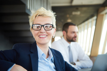 blonde business woman on meeting