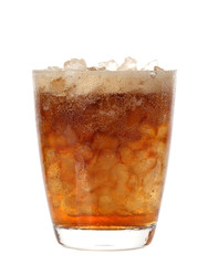 Cold soda iced drink in a glasses isolate on white