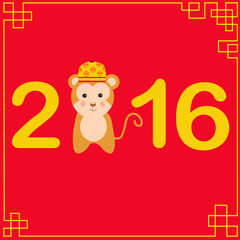 Happy Chinese New Year 2016 with monkey kids vector illustration