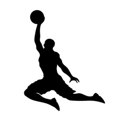 Basketball playing dunking and scoring flat icon for apps and websites