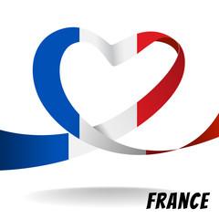 France country flag on heart design