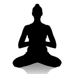 Silhouette of  woman in yoga position