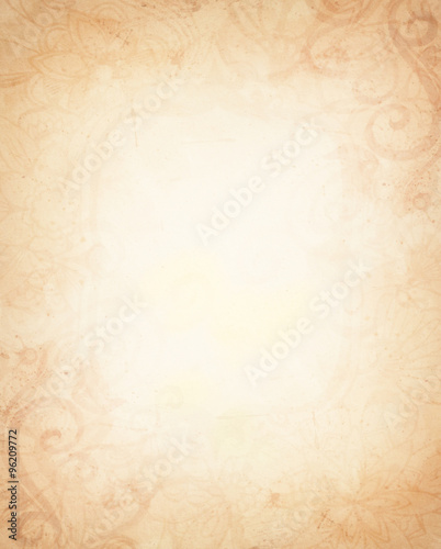 Old Vintage Paper Abstract Light Brown Background Beige Center And Aged Faint Flower Design