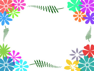 Colorful flower frame background