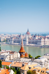 Panoramic view of Budapest  with river Danube and parliament, Hungary