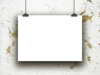 Single hanged horizontal paper sheet with clips on historical concrete wall background