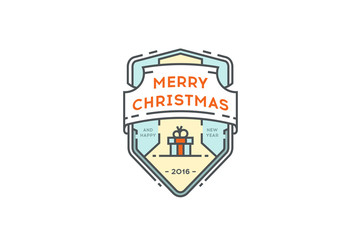 Holiday Christmas badge with gift boxes. Vector.