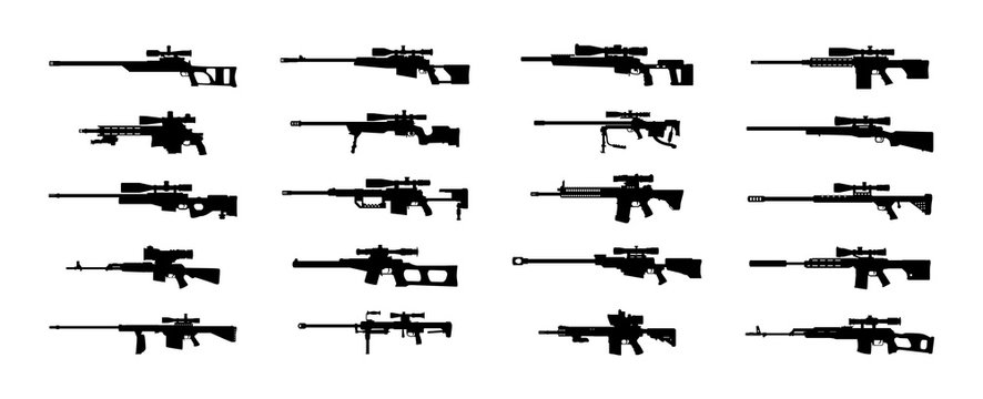 Modern sniper rifles set. Vector EPS10.