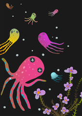 Colorful Octopus on Black Cartoon Greeting Card Design