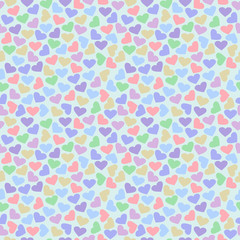 Seamless vector pattern, bright colorful chaotic background with hearts