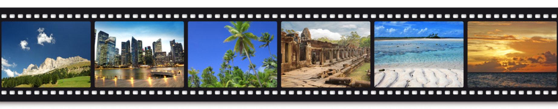 six travel photos in a film strip