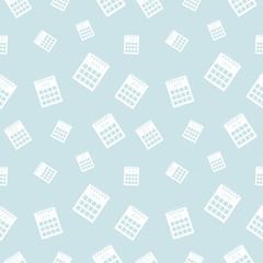 Seamless vector pattern, light pastel shadeless chaotic background with calendars