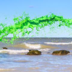 Green watercolour splash
