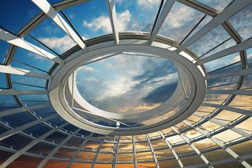 Fototapeta sunset over the roof of a futuristic dome