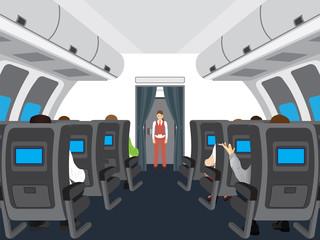 Interior of salon of the plane.