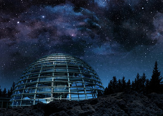 futuristic glass dome under the milky way Wall mural
