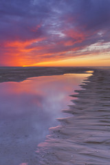 Sunset on the beach, island of Texel, The Netherlands