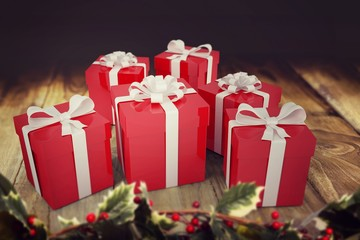 A selection of Christmas gifts with ribbons