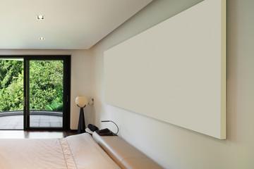 Interior, wide bedroom