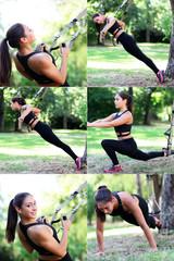 junge Fitnessfrau mit TRX