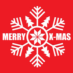 Snowflake on red background. Merry Christmas