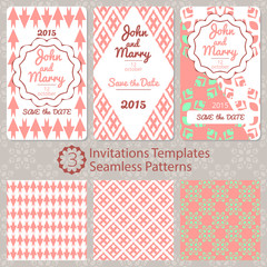 Set of vector cards. 3 templates for any invitations. 3 seamless patterns.