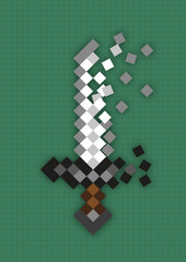 Pixel sword used in computer games