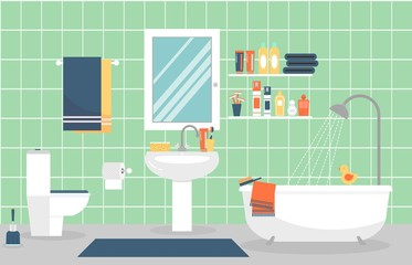 Modern bathroom interior with furniture in flat style. Vector illustration